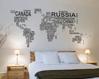 Map world in the words wall sticker, map world wall decal decor, map in the words wall sticker removable vinyl wall art