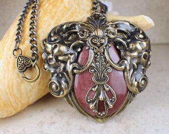 Mookaite Jasper Heart Pendant, Heart Pendant, Heart Necklace, Statement Necklace, Statement Jewelry, Burgundy Mookaite Pendant, OOAK