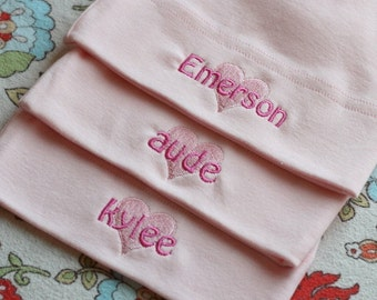 Personalized Triplet Baby Girl Hats -  American Apparel Knot Hat with names - FREE SHIPPING