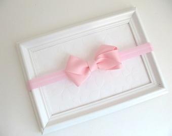 Light Pink Baby Bow Headband, Pink Bow Headband, Pink Hair Bow, Infant Headband, Simple Pink Hair Bow, Baby Girl Headband, Newborn Headband