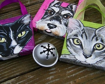 Set of Three Custom mini Pet Portrait Ornaments - handpainted art