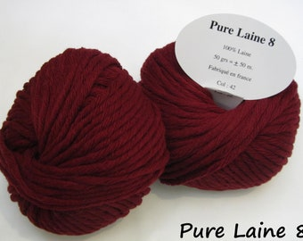 5 skeins of Pure wool soft / Made in France / Burgundy