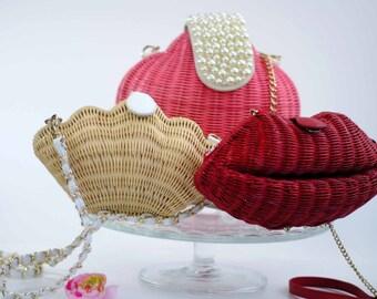 Vintage Mini Rattan Straw Wicker Clutch Handbag