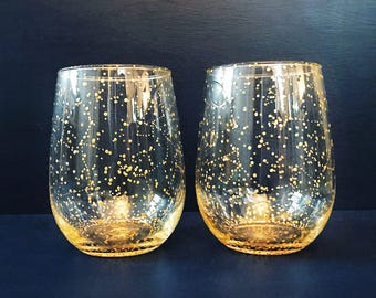 GOLD Starry Stemless Wine Glasses - Set of 2 Handpainted Gold Star Constellation Wine Glasses