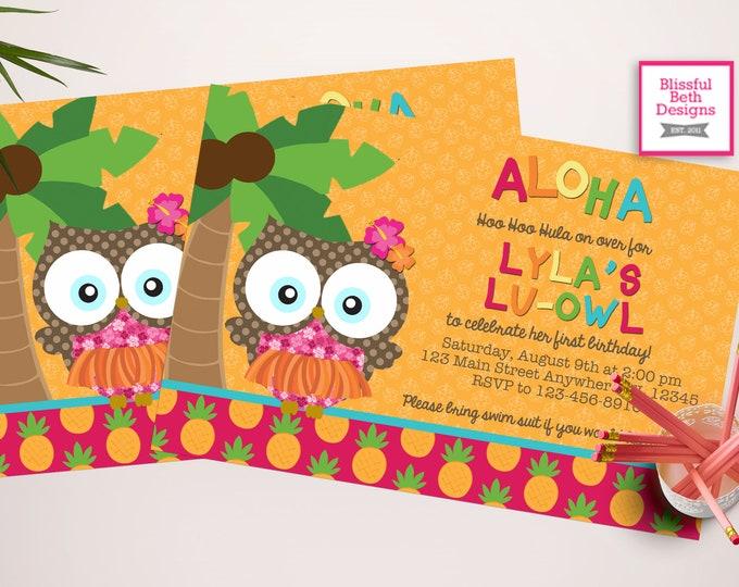 ALOHA LU-OWL Birthday, Lu-owl, Luau, Aloha Owl, Luau Owl, Owl Invite, Luau Invitation, Aloha Owl Invite, Luau Birthday, Aloha Birthday