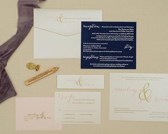Gold Wedding Invitations | Blush Pink Invitation | Navy Wedding Invitation | Simple Wedding | Formal Wedding Invite Set | Malaya & Godwin