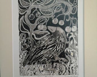 Crow print, crow art, crow gift, dancingharepottery, corvid, crows, ravens, rooks,raven gift, black and white print, home decor,