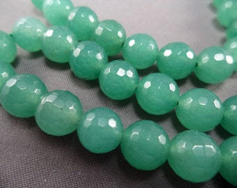 Dyed Green Jade Faceted Beads - 8mm - 15 Inch Strand