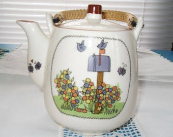Vintage Teapot Mailbox and Bluebirds Flowers Japan Wicker Wood Handle