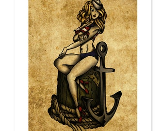 The Sea Harlot, Sailor Pin-up, Neo-Traditional Tattoo Flash, Old School, Art Print 12x16