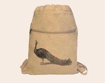Lovely Peacock Illustration Canvas Cinch Sack Backpack