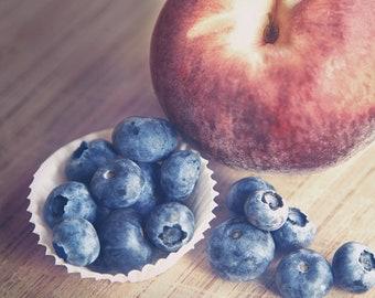 Fruit Photograph, Kitchen Decor, Farmhouse Decor, Farmhouse Art, Farm Kitchen, Peach Photograph, Blueberries, Still Life Photo