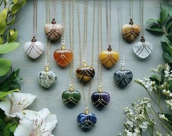 Gemstone Heart Necklaces >> Wire Wrapped Quartz, Jasper, Aventurine, Sodalite, Amethyst, Rose Quartz Heart, Boho Luxe >> Choose One