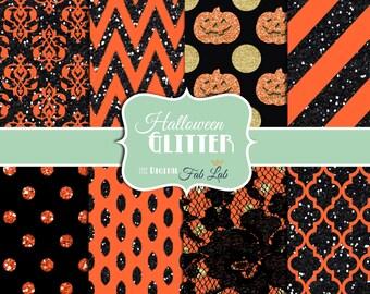 Halloween Glitter Paper, Red,Green, Gold Glitter, Sparkling, Chevron, Stripes, Polka Dots, Digital Paper, 12x12, Scrapbook