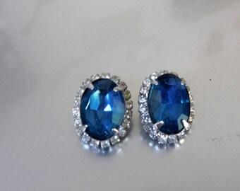 Kramer Sapphire Blue and Rhinestone Earrings    ~Clip On~