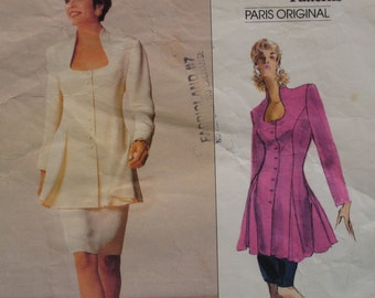 80s Chloe Tunic and Skirt Pattern, Jacket, Flared, Open Shaped Neck,Straight Skirt, Vogue Paris Original No. 2248 Size 6 8 10