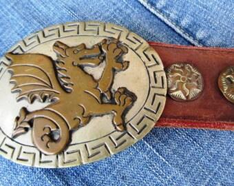 Vintage Dragon Belt Buckle With Leather Belt