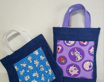 Reusable Denim Tote Bag with Pokemon Pocket