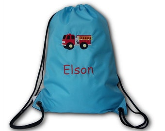 Gym bags with fire truck and name embroidered sports bags