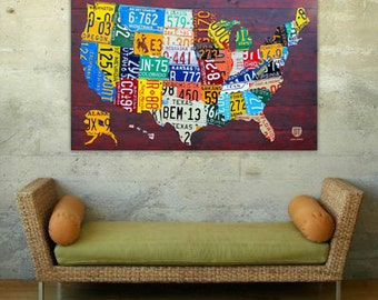 License Plate Map of the United States USA Heavyweight Archival Matte Paper Print