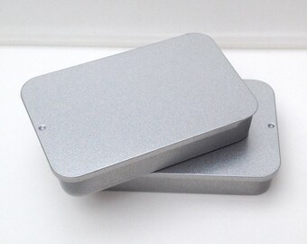 40ml Sliding Lid Tins, Rectangular Metal Tins, Color Silver, Small Storage (A Set Of 50 Tin Boxes)