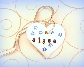 Personalized Heart Bookmark with Little Stars