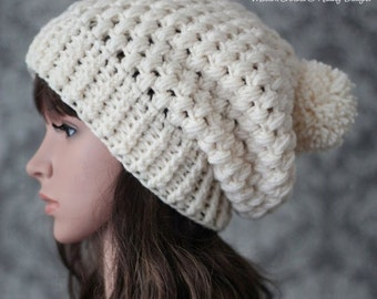 Crochet PATTERN - Crochet Hat Pattern - Slouchy Hat Pattern - Puff Stitch Crochet Hat Pattern - Baby, Toddler, Child, Adult Sizes -  PDF 437