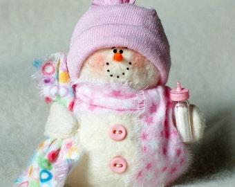Baby Girl Snowman Ornament