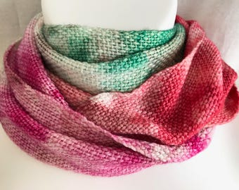 Handwoven Scarf | Red Magenta Green Scarf | Christmas Scarf | One Of A Kind | Unique Scarf | Hand Dyed Scarf | Gift For Her | Handmade Scarf
