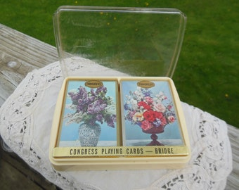 2 Decks  - vintage Congress Playing Cards for Bridge - New in Package circa 1960s- NIP