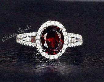 Natural Garnet Ring Garnet Engagement Ring/ Wedding Ring 925 Sterling Silver Ring Anniversary Ring Silver Gemstone Ring Promise Ring
