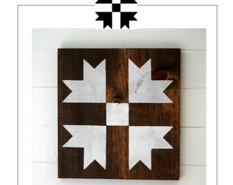 Farmhouse Barn Quilt Block Stencil - Bear Paw quilt block