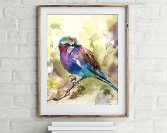 Lilac bird art print, Bird Watercolor Painting Art, Fine Art Print of bird, Colorful bird painting, bird wall art, giclee print