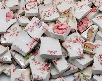 100 Broken China Mosaic Tiles - Pink - Red - Roses - Flower - Recycled Plates -