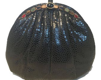 Judith Leiber Vintage Black Lizard Leather Clutch