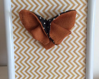 Butterfly brooch fabric origami declination orange and gold and black