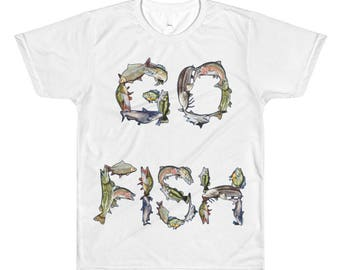 Go Fish All-Over Printed Shirt, Fishing, Sporting, Sports, Outdoors, Bass, Muskie, Northern, Walleye, Bluegill, Catfish, Carp, Trout