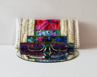 Hand Made Eye Glasses Case Cotton Fabric Courthouse Steps Pattern