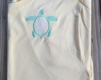 Coastal Turtle Monogrammed Short Sleeve Tshirt