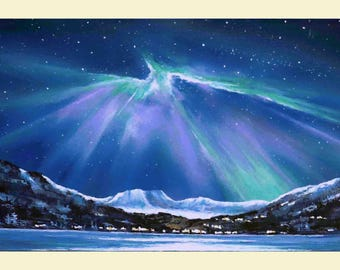 Original Painting Northern Lights Unique Aurora Borealis, Mountains, Stars, Galaxy  Night Sky, Space Art, Acrylic Painting On Canvas, Gift