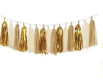 Tassel Garland, Tissue Paper Tassels for Wedding, Baby Shower, Event & Party Supplies, 15 pcs DIY Kits - (Tan+Ivory+Metallic Gold)