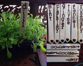 """Plant Markers - Set Of 5 (Double Sided) 6"""" Wood Burned Plant Markers - Handmade Plant Markers, Plant Stakes, Garden Markers"""