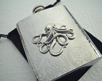 Big Octopus Flask Silver Octopus Gothic Victorian Steampunk Flask Silver Flask Men's Flask Woman's Flask Men's Gift