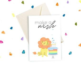 Biglietto illustrato, biglietto Leone, Make a wish, Esprimi un desiderio, auguri compleanno, compleanno bimbo, illustrazioni per bambini
