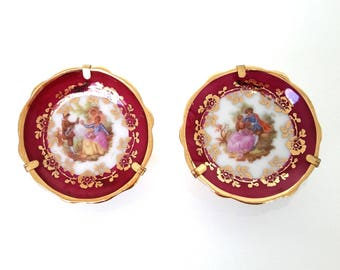 2 pcs vintage Limoges miniature plates, dollhouse, tiny decoratives plates, Limoges mini Fragonard plates