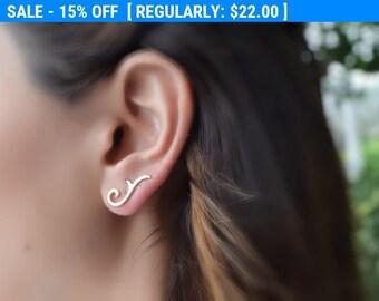 Filigree Ear Climber , Gold Ear Cuff , Climbing Earrings , Ear Crawler , Filigree Earrings , Climber Earring , Victorian Ear Pin