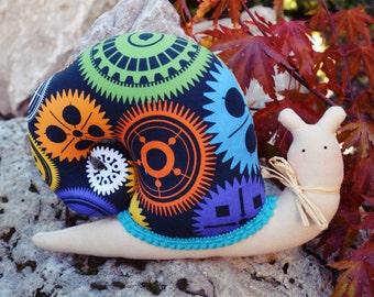 Small Stuffed  Snail - Colorfull Cogwheels - Black Blue Green Red - Steampunk Snail - gift for a girl or boy, tilda snail -