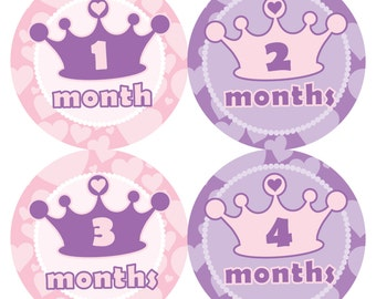 Princess Tiara - Baby Monthly Milestone Stickers, Baby Stickers, Monthly Stickers, Month Stickers, First Year Belly Sticker