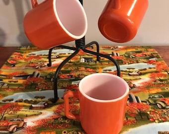 Vintage Hazel Atlas Orange Coffee Mugs Set of 3