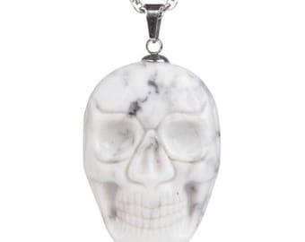 34-36mm White howlite carved skull pendant focal bead (pendant only)